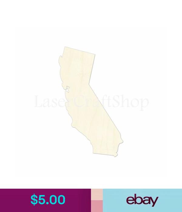 Wooden Cutout Shape Silhouette California CA Tags Ornaments Laser Cut #1142