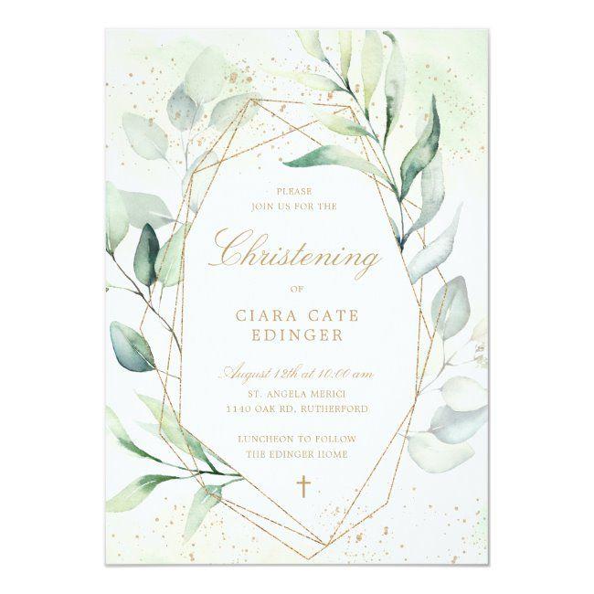 Eucalyptus Greenery Gold Geometric Christening Invitation