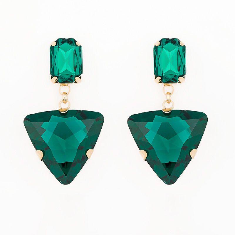 2016 caliente nueva venta de joyería de moda de diseño a Largo borla triángulo de cristal rhinestone grande pendiente colgante para las mujeres # E018
