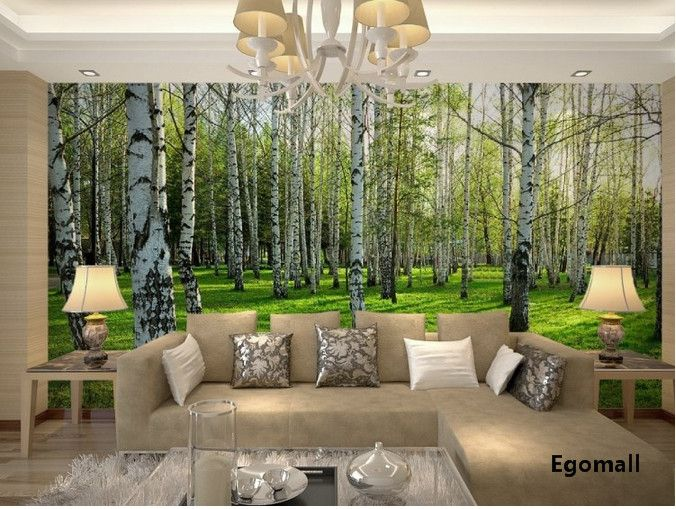 Find More Wallpapers Information About American Birches Wallpaper Reflective Waterproof 3d Wall Paper Living Room Bedroom Mural Wallpape Woonkamer Wonen Behang