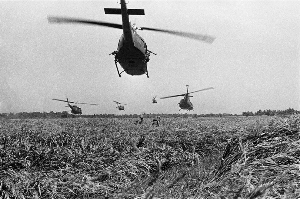 The Vivien Maier in the Army... The nine-ship lift was a nine-helicopter-strong formation which transported around 50 men to the field from fire support bases. Here, the first five Hueys in a nine-ship lift have just dropped members of a combat infantry unit near Dau Tieng.