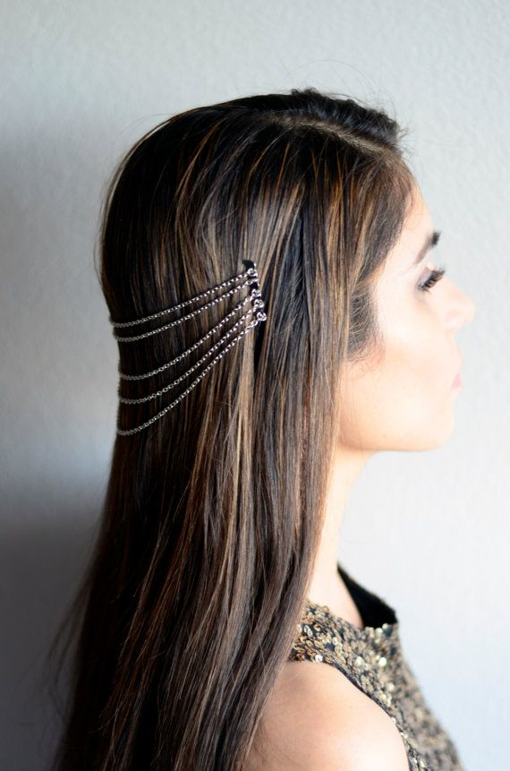 THE LARA Silver Hair Chain Jewelry Barrette Head Accessory Boho Festival Hippie Vintage Authentic Ha #hairchains