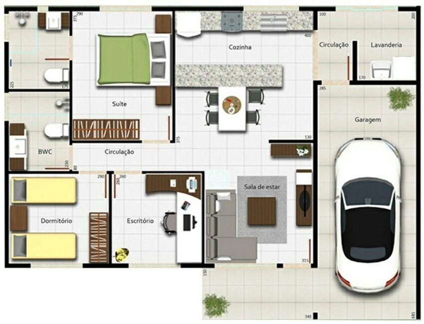 Casa 2 quartos e escritorio Plantas de casas, Casa com