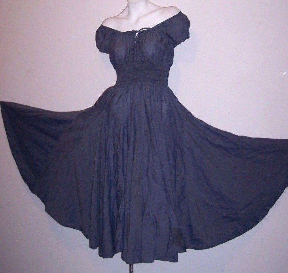 623ab91108b Chelsea Theodore Dress S Denim Blue Chambray Gored Hemline Smocked Waist  Women s  ChelseaTheodore  Sundress  Casual