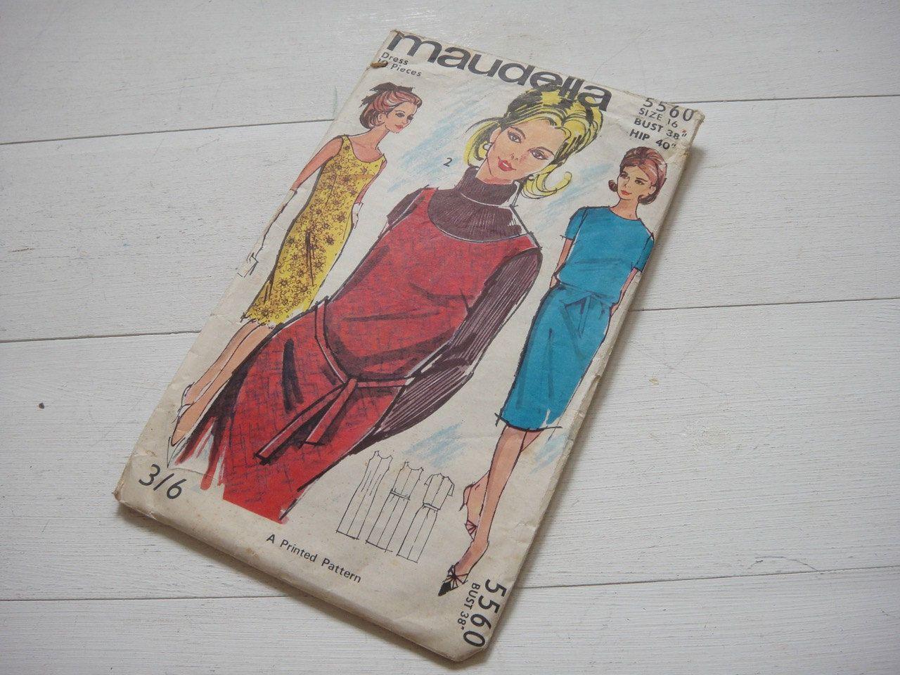 """Maudella Shift Dress Pattern 5560, Size 18, Bust 38"""" Circa 1960 by…"""