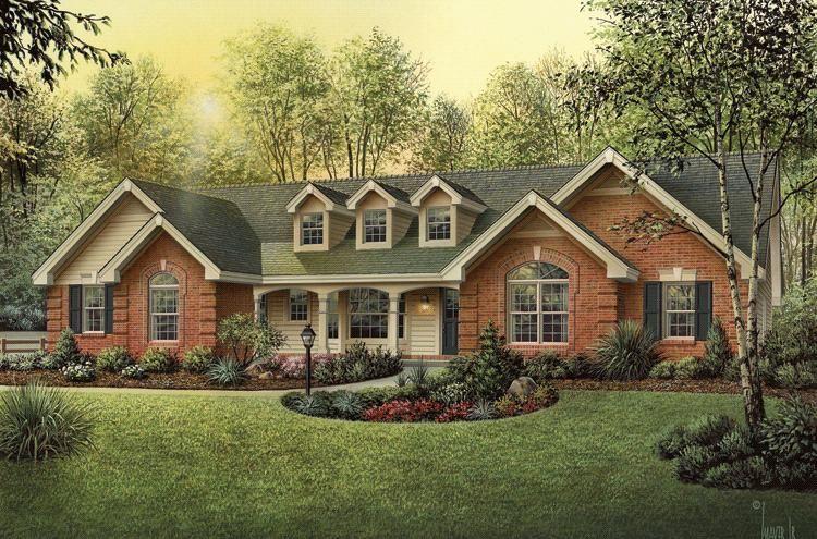 4 Bedroom House Plans Open Floor Brick