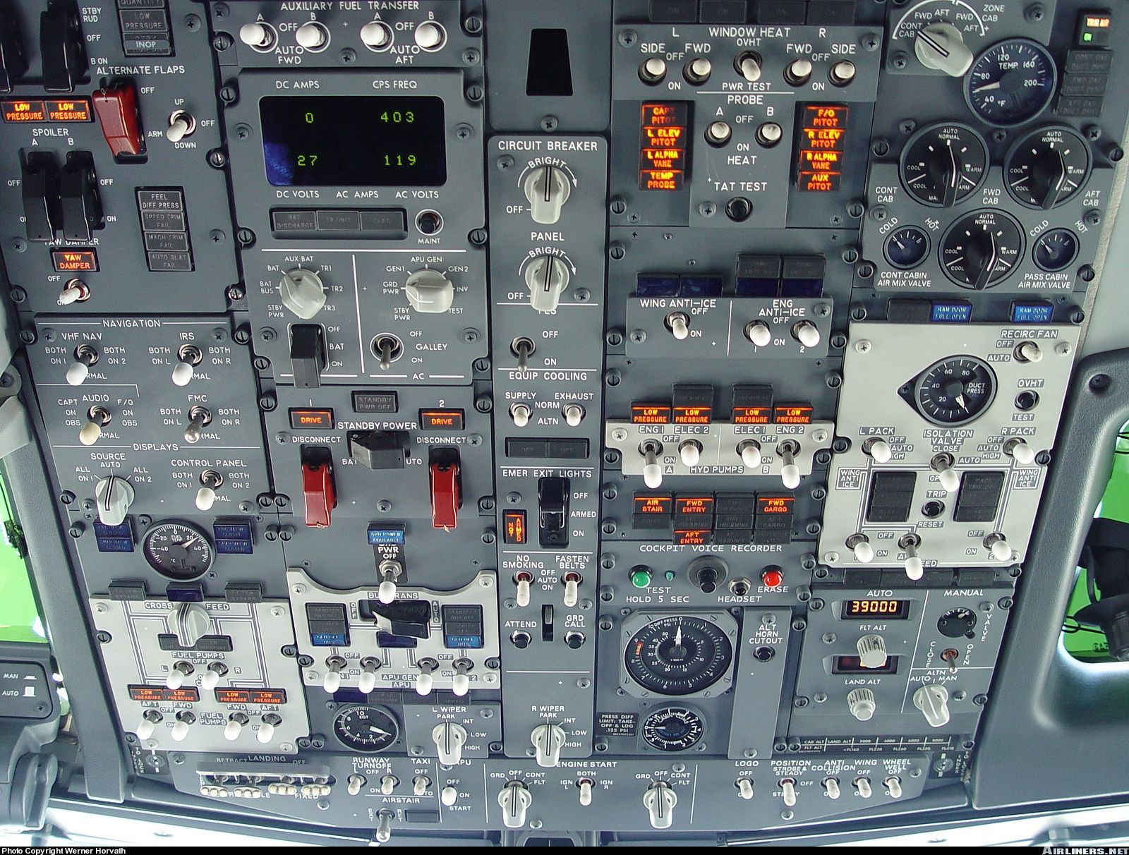 The Overhead Panel Of Boeing 737 7bc Bbj Aircraft