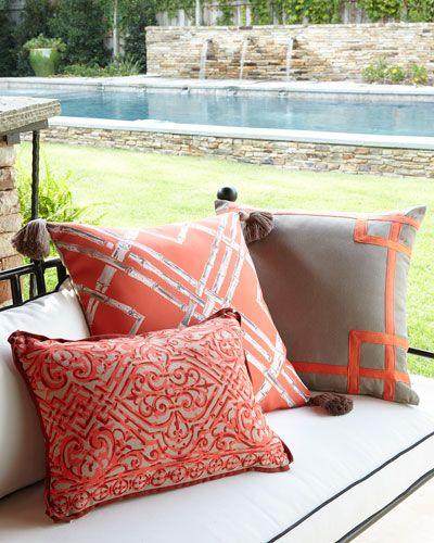 -6AZ2   Melon Bamboo Outdoor Pillow with Tassels Melon Rio Outdoor Pillow Melon Santos Outdoor Lumbar Pillow