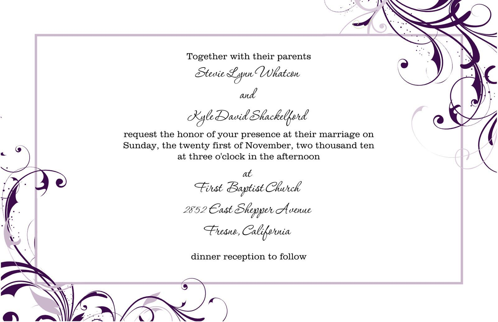 Free Blank Wedding Invitation Templates For Microsoft Word  Formal Invitations Template