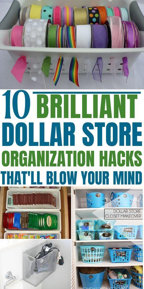 10 Mind Blowing Dollar Store Organization Hacks that are beyond Genius #dollarstores