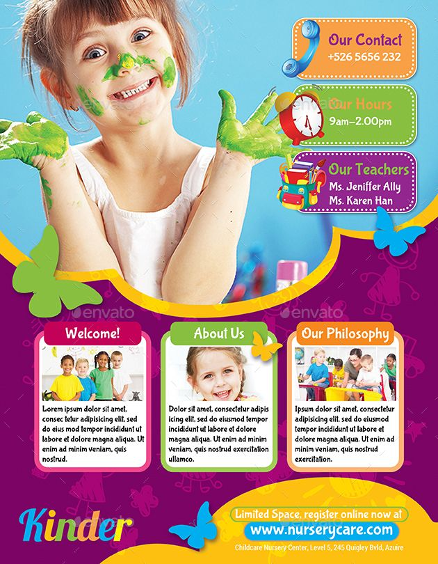 Childcare Nursery Flyer Affiliate Childcare Sponsored Nursery Flyer School Brochure Education Poster Design Kids Brochures