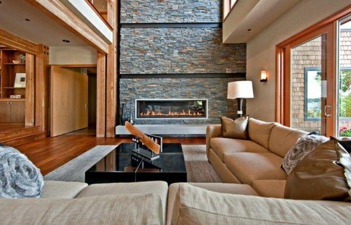 Dekoration · kamine steinwand wohnzimmer gestalten
