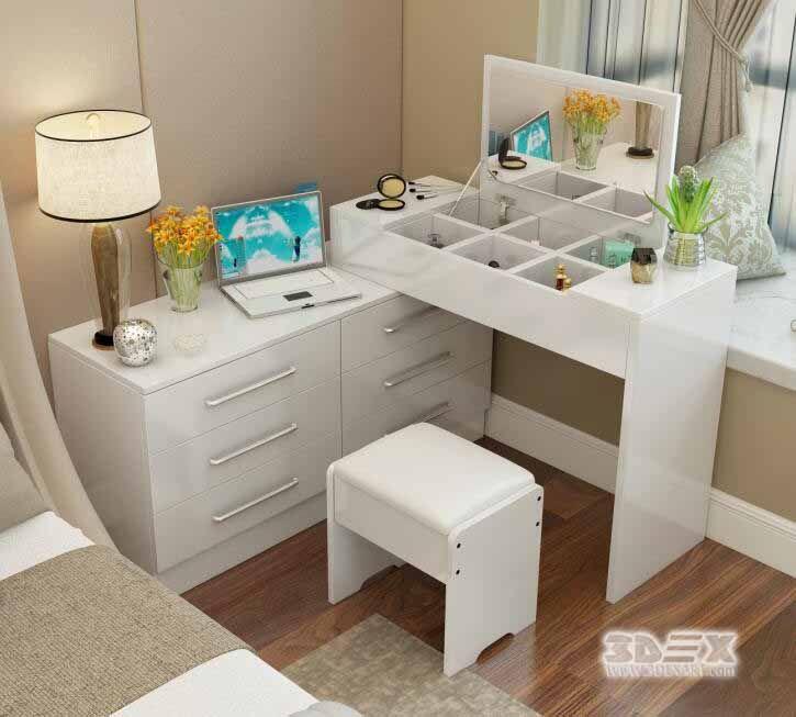 white wooden corner dressing table designs for modern