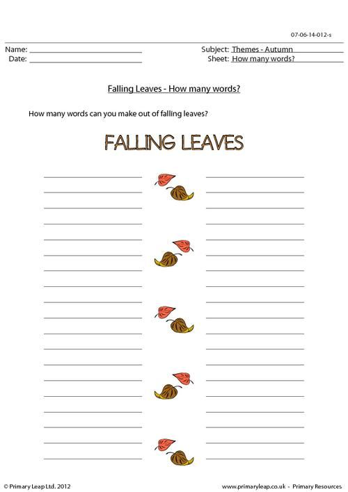 Primaryleap Autumn Word Unscramble Falling Leaves