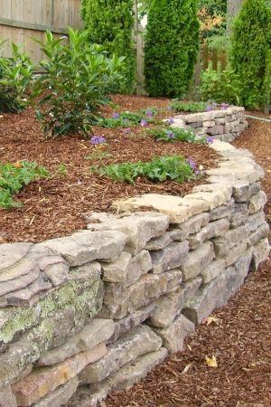Loose Stacked Retaining Wall Stone Walls Garden Backyard Hardscape