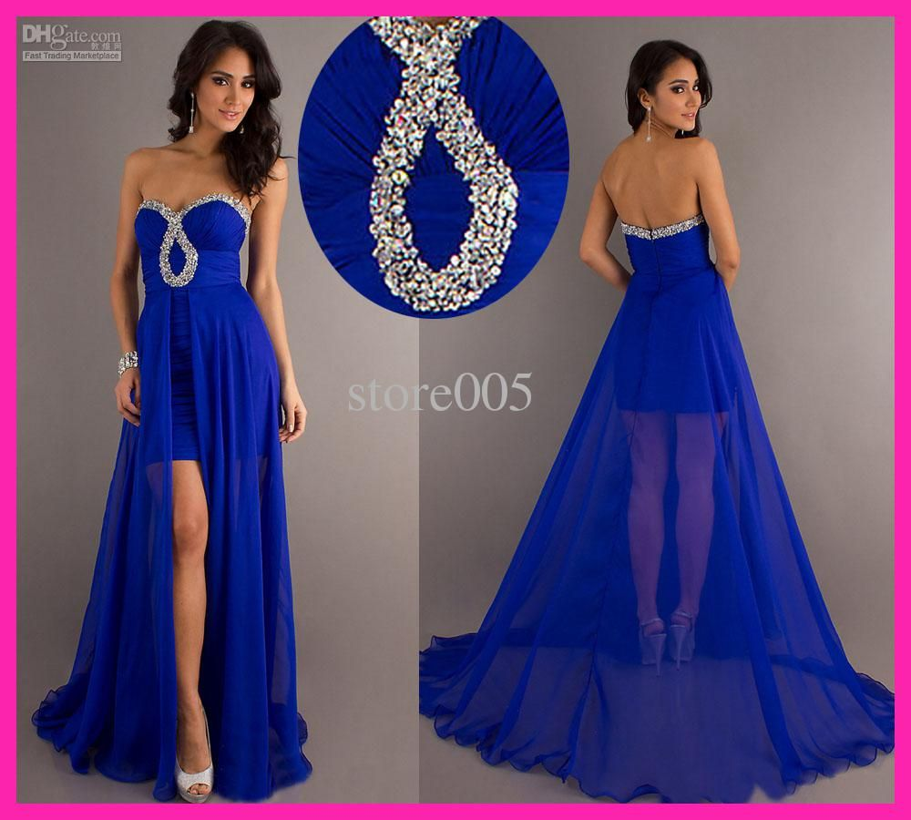 Royal Blue Chiffon 2015 Prom Dresses Sweetheart Pleat High Slit ...
