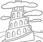 Dibujo Torre De Babel Torre De Babel Bible Coloring Pages Tower