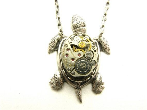 Steampunk Silver Sea Turtle Necklace by TheGoldBug on Etsy