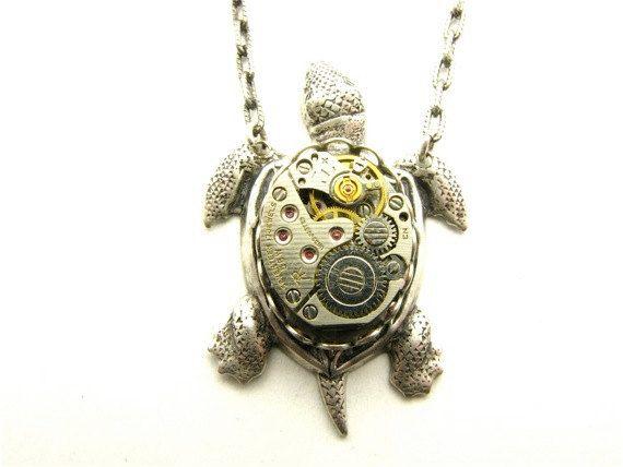 Steampunk Silver Sea Turtle Necklace by TheGoldBug on Etsy