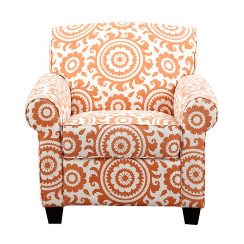 A happy pattern and vibrant orange make this chair a fun choice for a seating area. | $480