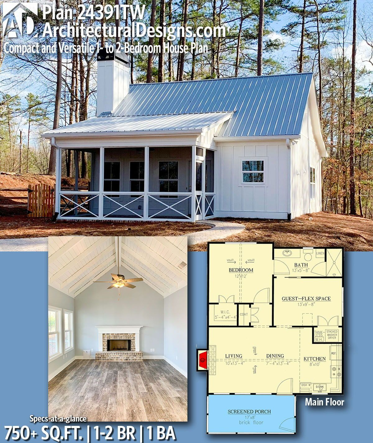 Plan 24391tw Compact And Versatile 1 To 2 Bedroom House Plan