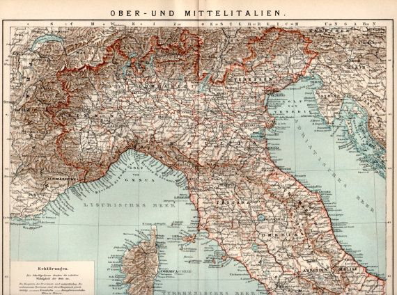 1898 Italy Antique Map Vintage Lithograph Antique Print Umbria