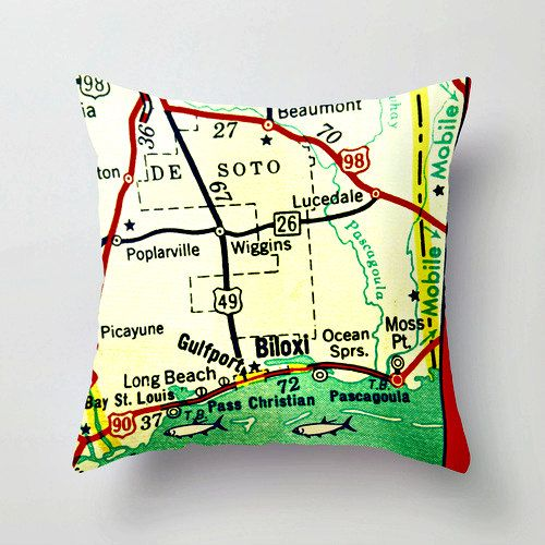 Mississippi Map Pillow Gulf Coast Beaches By Vintagebeachmaps 38 00 With Images Map Pillow Pillows Pillow Covers