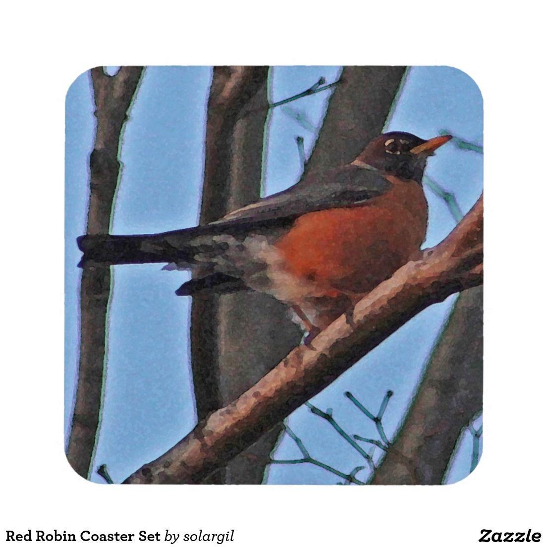 Red Robin Coaster Set