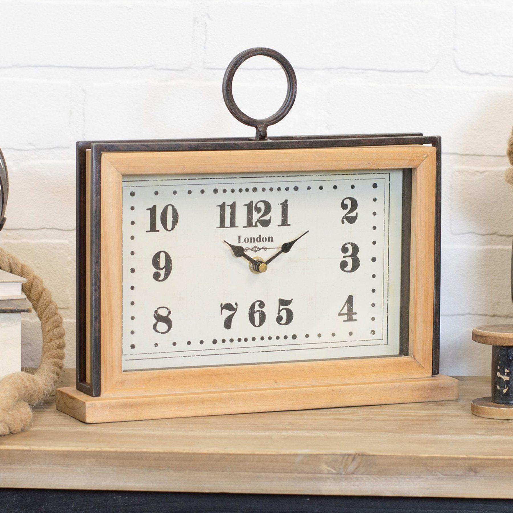 American Mercantile Rectangular Wood Table Clock Table Clock
