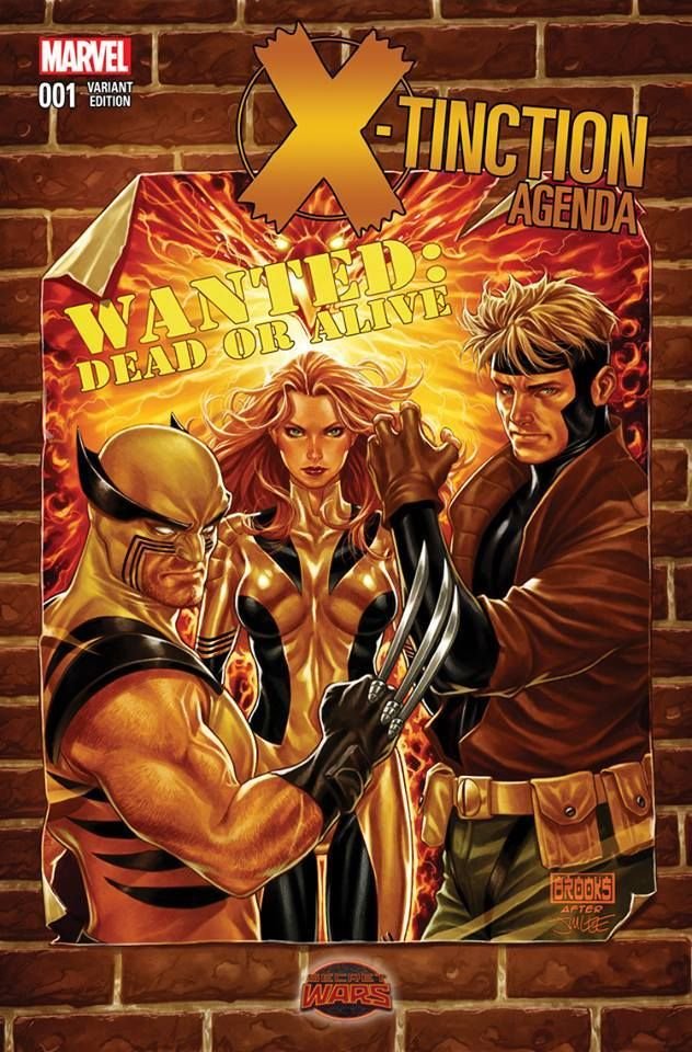 X-Tinction Agenda #1 variant cover (after Jim Lee) - Wolverine, Gambit, and Jean Grey - Phoenix by Mark Brooks