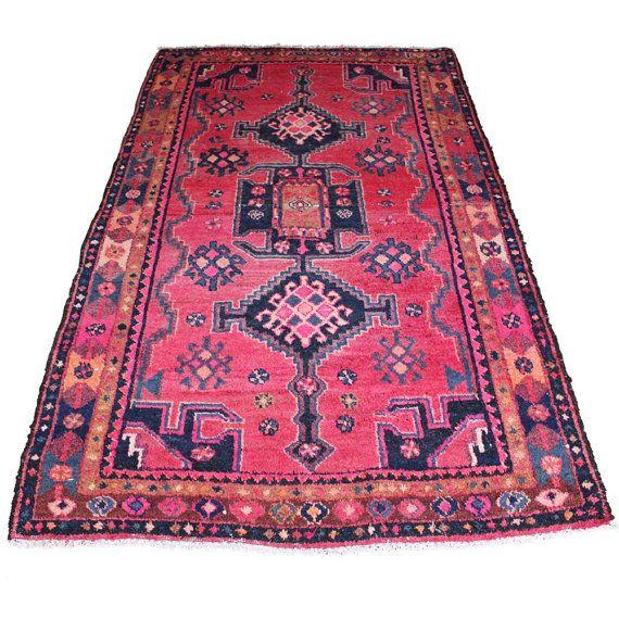 Vintage Persian Rug Pink Blue
