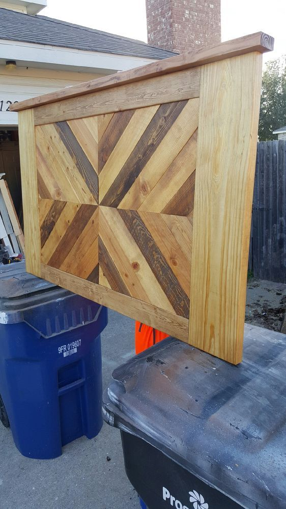 Plank Wood and Pallet Wood Headboard With Accent Lights is part of Home Accents DIY Headboards - We were asked to build a custom piece for a local Customer  The second picture is a mockup of what the Customer had asked us to to make the vertical outer pie…