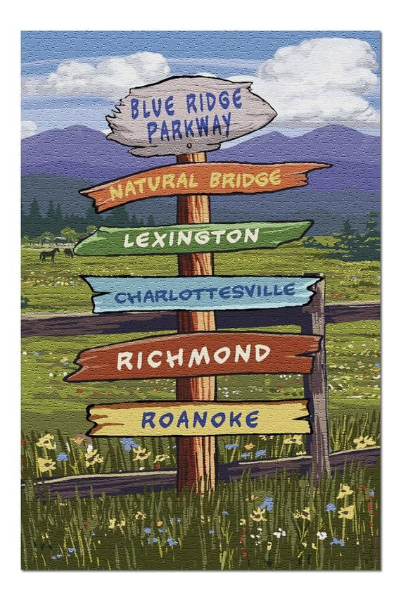 Blue Ridge Parkway, Virginia - Destination Signpost 105654 (20x30 Premium 1000 Piece Jigsaw Puzzle,
