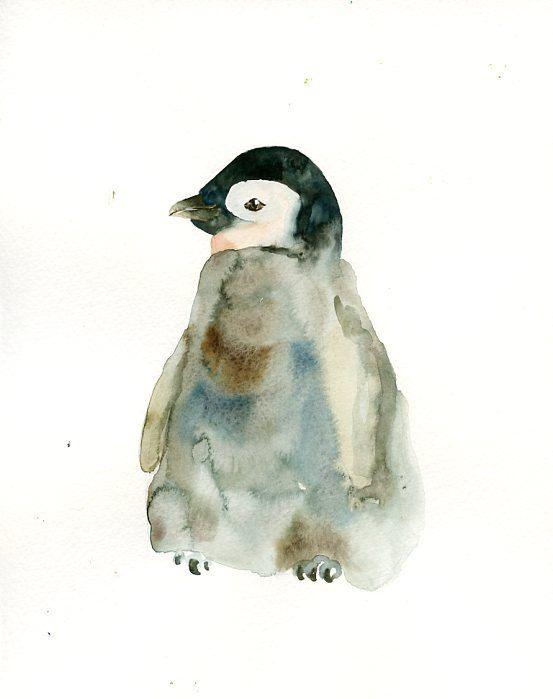 2 Little Penguin Chicks Original Ink Watercolour In 2020