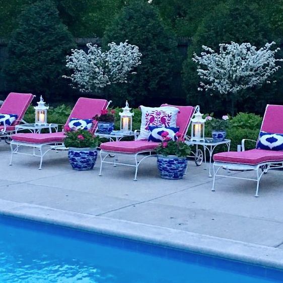 Hot Pink And Blue White Outdoor Deck Patio Decor