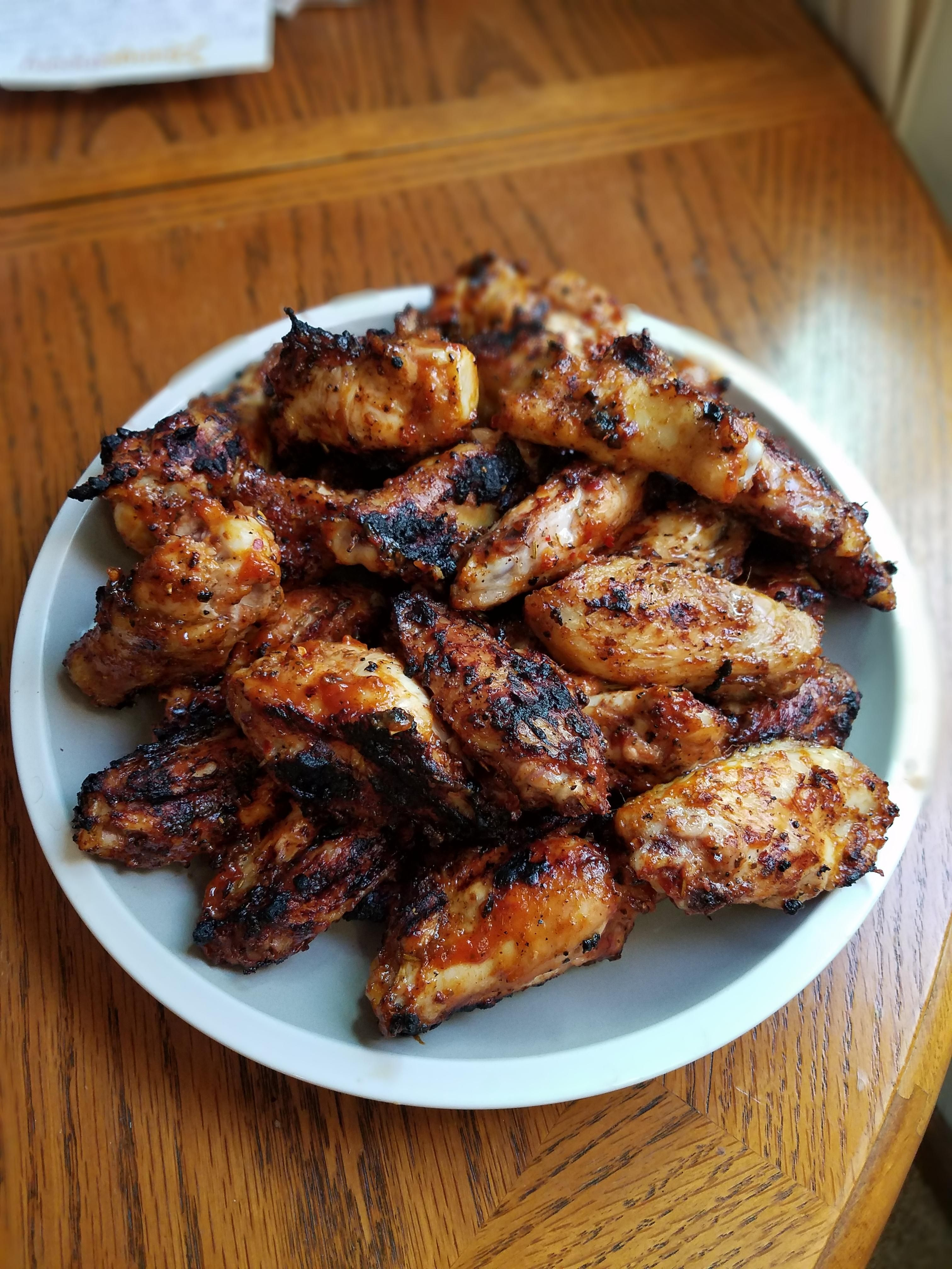 Homemade Grilled Chicken Wings With A Mustard Based Bbq Sauce