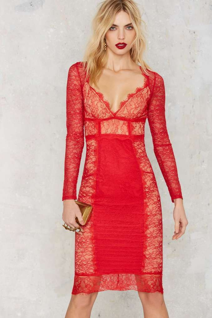 5d3272530f14b Nasty Gal Must Be the Lace Dress - Red - Clothes | Valentine's Day | Going  Out | Midi + Maxi | Dresses