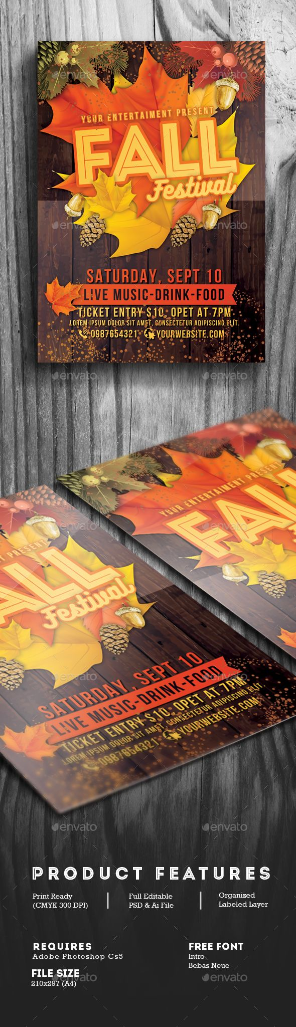 Fall Festival Flyer  Flyer Template Template And Font Logo