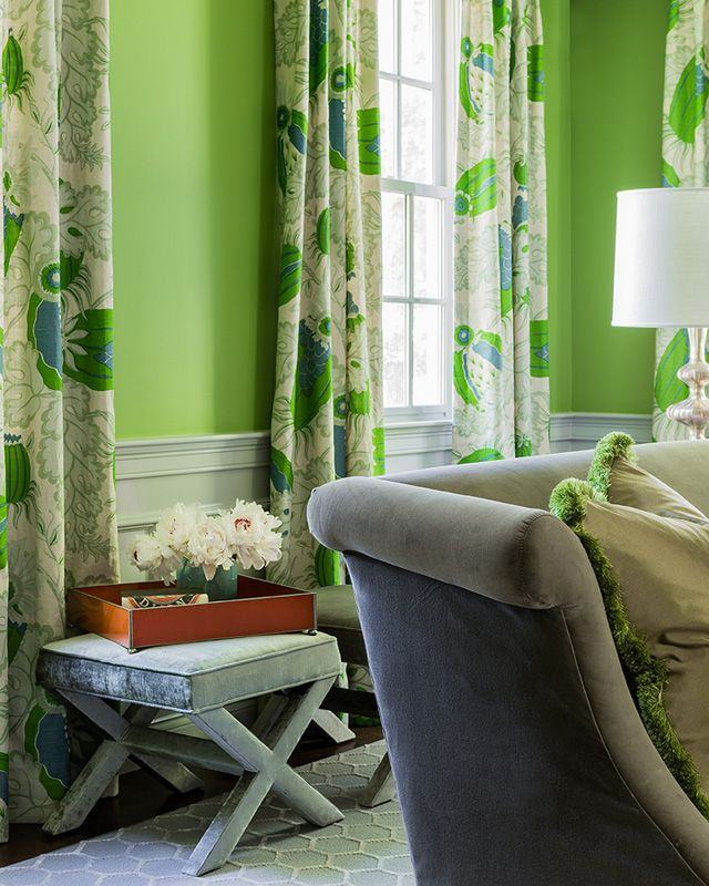 Dining Room With Apple Green Walls And Beautiful Curtains In Christopher Farr Carnival Verde Living Room Green Boston Interior Design Curtains Living Room
