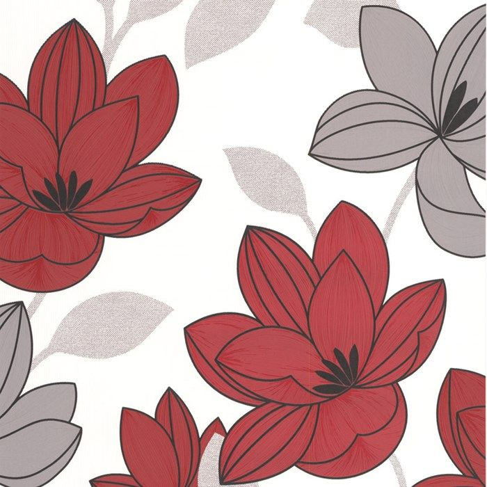 Superflora Red Flower Wallpaper Red Floral Wall