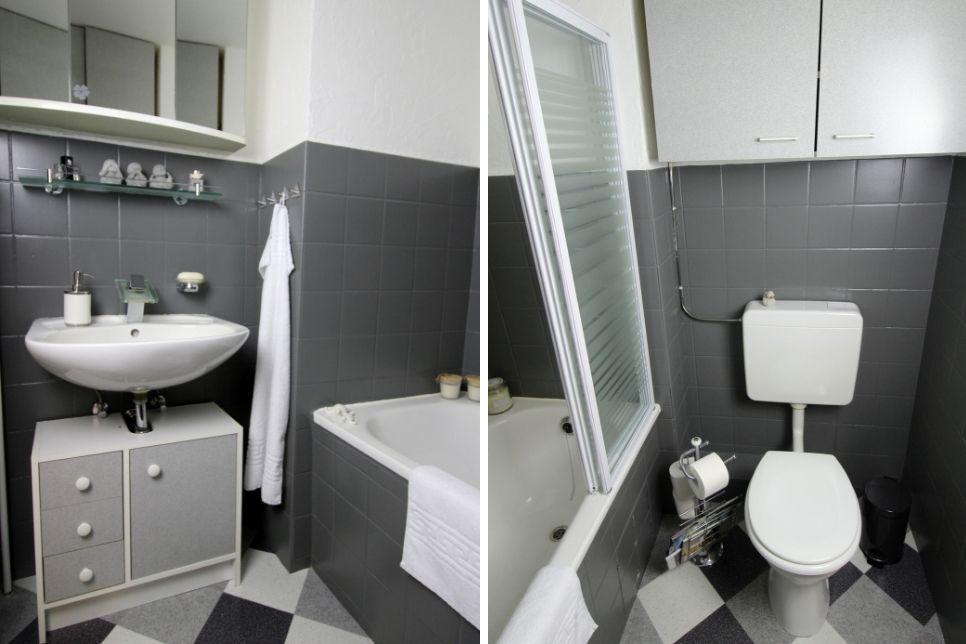 Diy Badezimmer Make Over Einfaches Recylcing Mit Der Schoner Wohnen Pep Up Renovierfarbe Fur Fliesen In 2020 Badezimmer Streichen Badezimmer Badezimmer Komplett