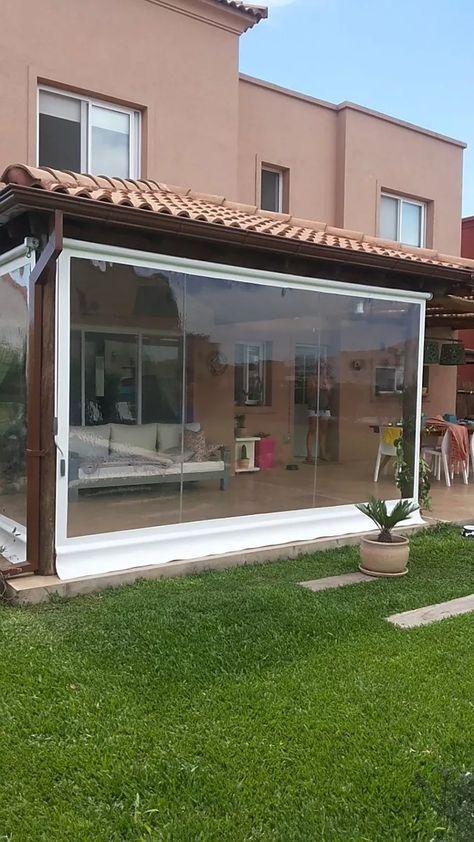 Lona cerramiento pvc cristal transparente toldos for Cortinas para terrazas exteriores