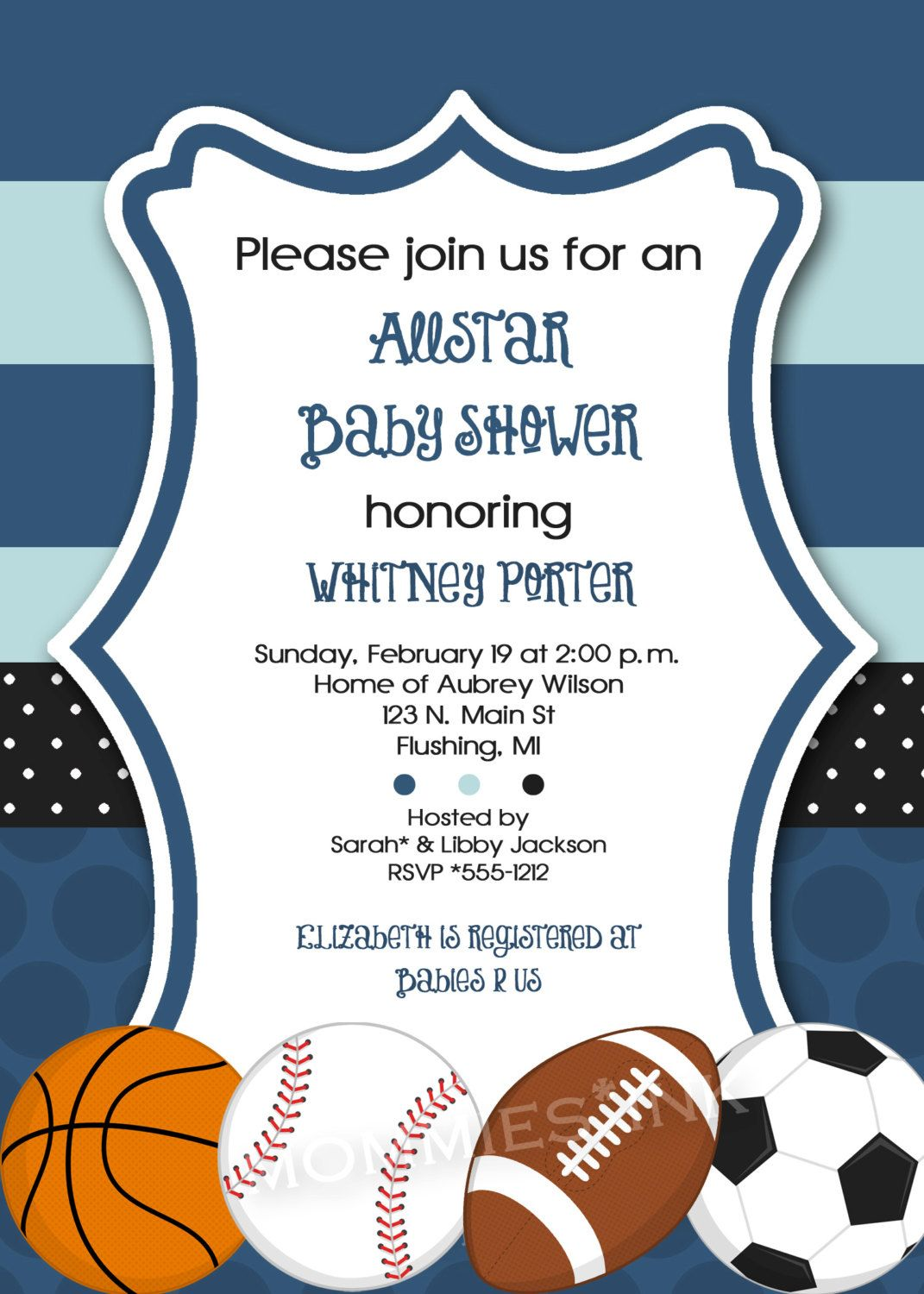 Mod Allstar Sports Theme Baby Shower or Birthday Party Invitation ...