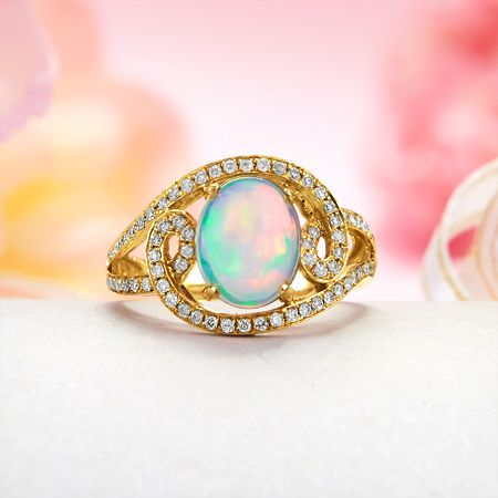 14k Yellow Gold Paved Diamond, Rainbow Fire Solid Ethiopian Crystal Opal Ring