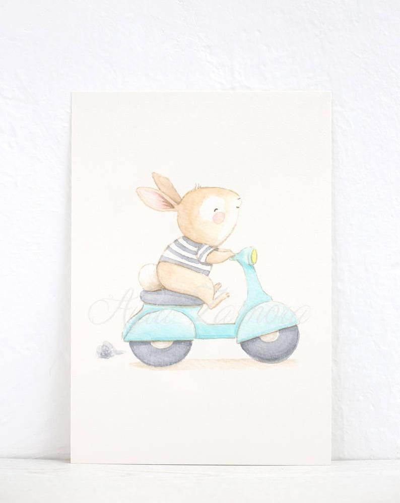 Children S Art Bunny In Vespa Nursery Wall Art Nursery