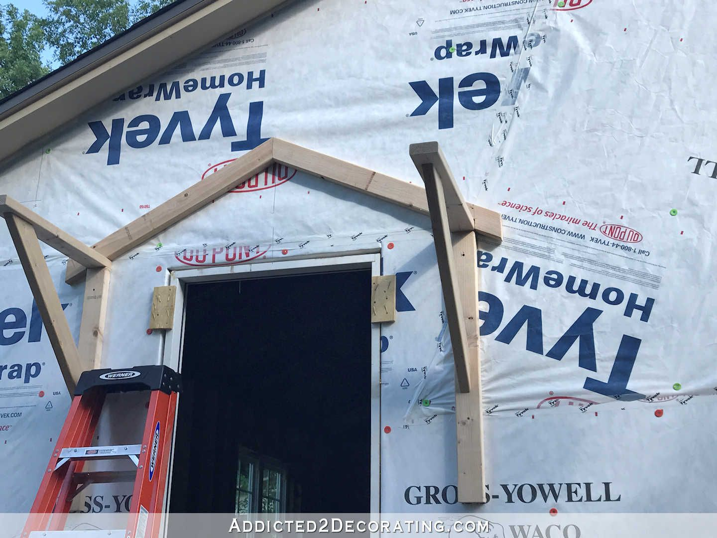 How To Build A Small Portico Above A Door Part 1 The Basic Frame Portico Door Overhang Basic Frames