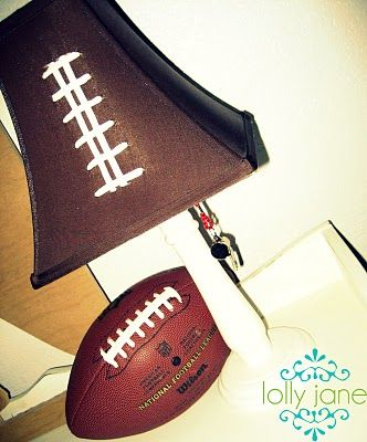 Football shade do it yourself shoelaces on a brown shade im so diy football lamp shade by lolly jane aloadofball Images