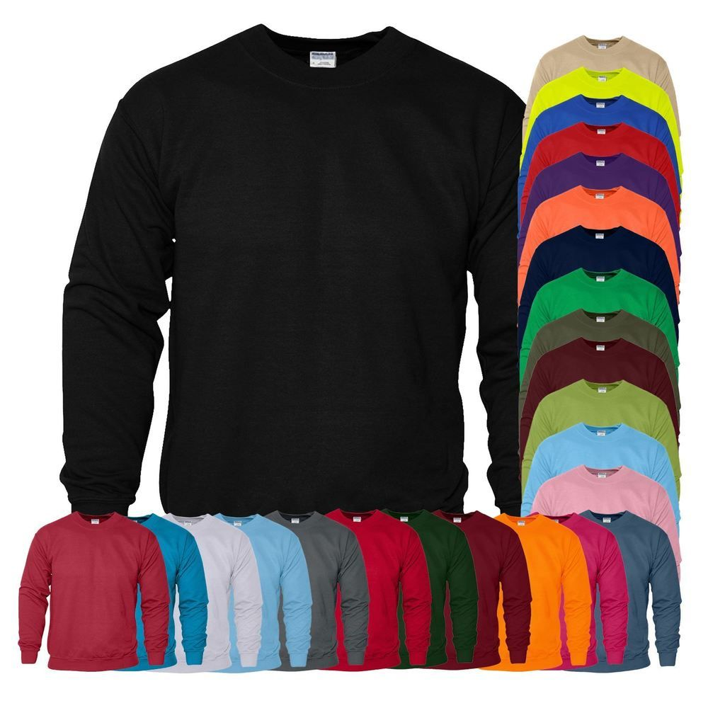New Gildan Plain Sweatshirt Cotton Heavy Blend Crew Neck Sweater ...