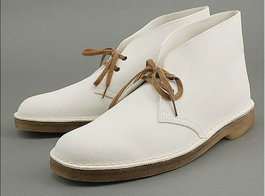 clarks desert boot white suede front