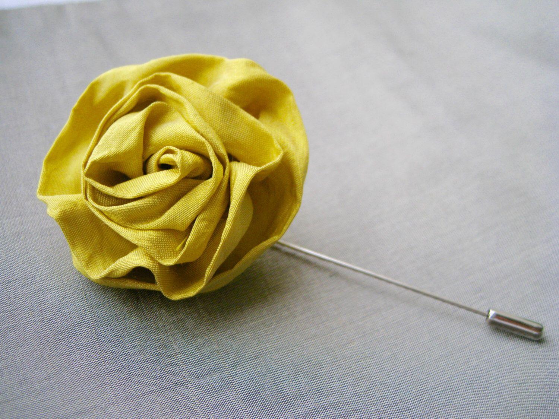Silk Flower Lapel Pin Silk Lapel Flower Wedding Yellow Rose
